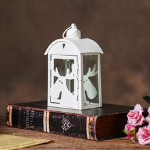 PINNY Cute Elk Iron And Glass Candle Holders European Modern Metal Stand Home Decoration Accessories Lantern