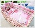 Promoción! 6 unids algodón jogo de cama bebe cuna juego de cama ropa de cama de bebé ( bumpers + hojas + almohada cubre )