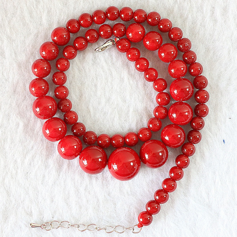 Artificial Coral Stone 6-14mm Beautiful Round Beads Diy Charms Chains Red Necklaces For Women  Jewelry Making 18
