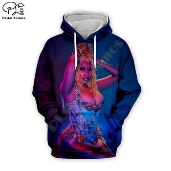 Nicki Minaj Hip-Hop singer 3d printing Hoodies Women/Men casual streetwear Long Sleeve Sweatshirt zipper harajuku fashion Hooded 2019 men s summer new casual pattern printing long sleeved hooded loose temperament trend cotton hoodies harajuku