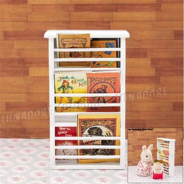 Odoria 1:12 Miniatur Zeitung Zeitschriftenständer Buch Regal Schrank Holz  Puppenhaus Möbel Zubehör Wohnzimmer Restaurant