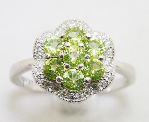 Кольцо из перидота натуральный Перидот 925 стерлингового серебра зеленые камни 0.2ct* 7 шт драгоценные камни производитель