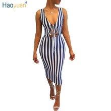 HAOYUAN Women Sexy Midi Blue Striped Dress 2017 New Arrival Summer Sundresses Deep-V Neck Sleeveless Ukraine Bodycon Beach Dress