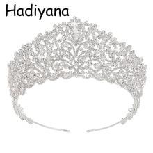 Hadiyana Hotsale Big Wedding Bride Crown Elegant Cubic Zincons Hair Tiaras Bridal Jewelry Crowns Party Accessories HG6004