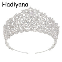 Hadiyana Hotsale Big Wedding Bride Crown Elegant Cubic Zincons Hair Tiaras Silver Bridal Jewelry Crowns Party Accessories HG6004