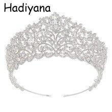 Hadiyana Hotsale الزفاف الكبير تاج العروس أنيقة مكعب زينونات الشعر التيجان مجوهرات الزفاف التيجان اكسسوارات الحفلات HG6004