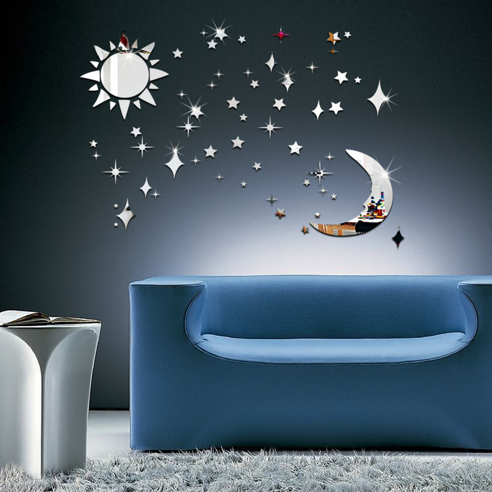 compare prices on silver star wall decor online shopping buy low 3d cartoon acrylic the moon stars crystal mirror wall stickers silver diy window decals living room