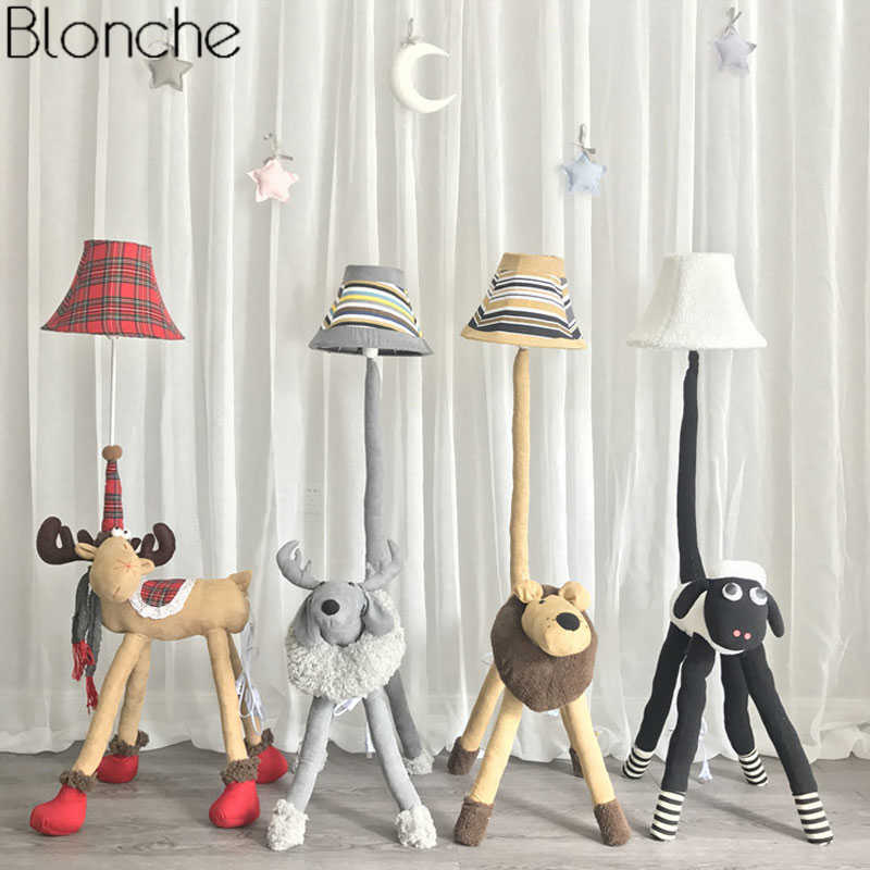 Cartoon Animal Floor Lamps for Children's Room Modern Christmas Deer Sheep Lion Fabric Standing Light Fixtures Home Decor E27
