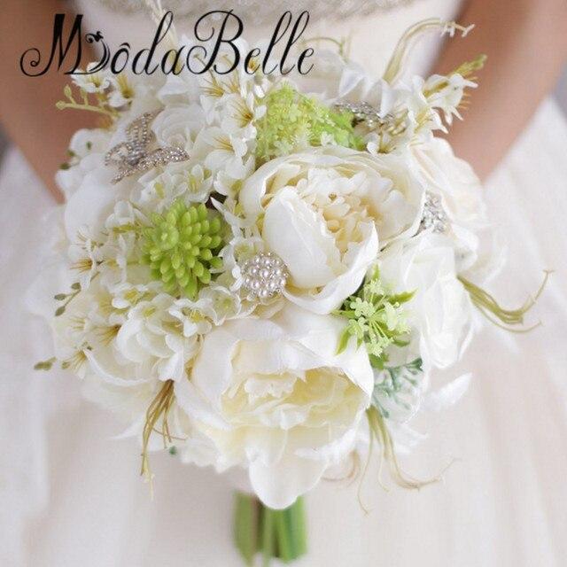 2017 artificielle pivoine de mariage broche bouquet strass bouquet de mari e perle ivoire blanc - Bouquet pivoine mariage ...