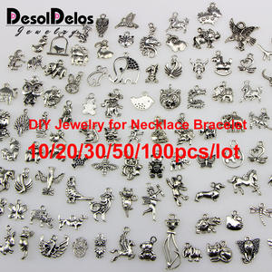 Tiger Charms Jewelry Pendants Necklace Accessaries Bracelet Making Tibetan Silver Elephant