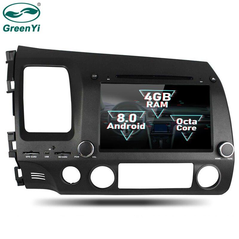 GreenYi 2 Din Android 8,0 Octa Core dvd-плеер для Honda CIVIC 2006-2011 gps-навигация Мультимедиа Радио стерео Штатная