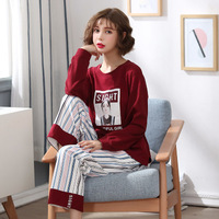 Pajamas Sets Women Striped pants Soft Cotton Fashion Women Long Sleeve Sleepwear Suit 2 piece Sexy Autumn Home Lounge Gift