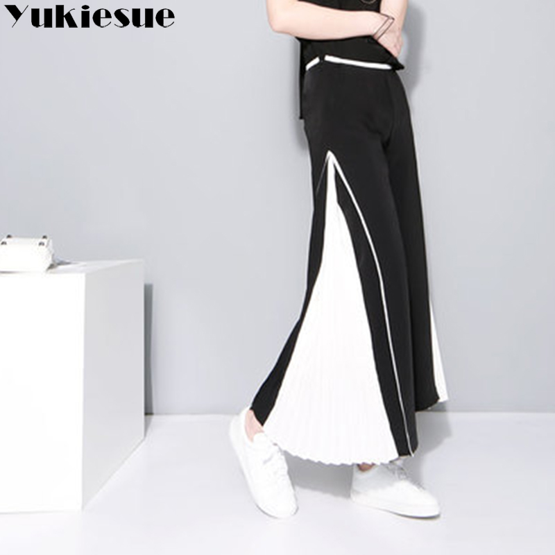 Pleated wide leg   pants     capri   women 2018 summer autumn loose streetwear patchwork chiffon trousers female pantalon femme mujer