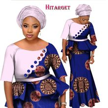 2017 BintaRealWax African Two Piece Set Women Half Sleeve Crop Tops & Long Skirt Sets Mermaid Maxi Clothing 6XL WY1252