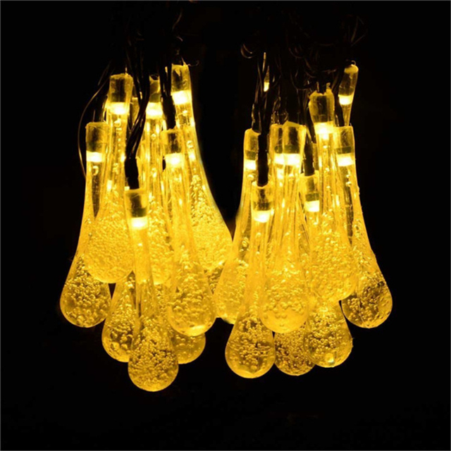 20 LED 8 modes Solar Powered Water Drop String Lights LED Fairy Light for Wedding Christmas Party Festival Outdoor  Decoration