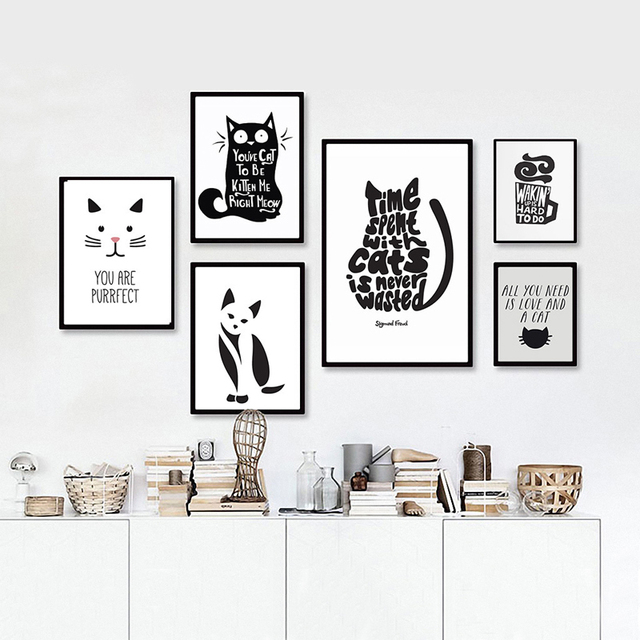 Cat quotes canvas printings black and white animals for Black and white mural prints