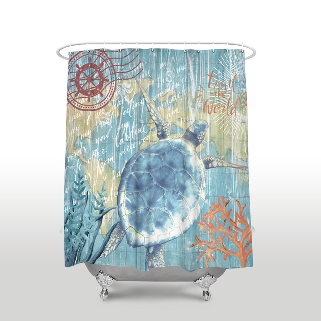 New Arrival Waterproof Sea Life Turtle Shower Curtain With Hooks Polyester Fabric Bathroom Curtains For Home Decor