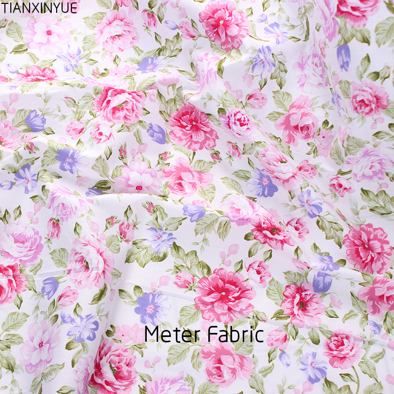 Meter Fabric Cotton Twill Sewing Cloth Rose Floral Fabrics