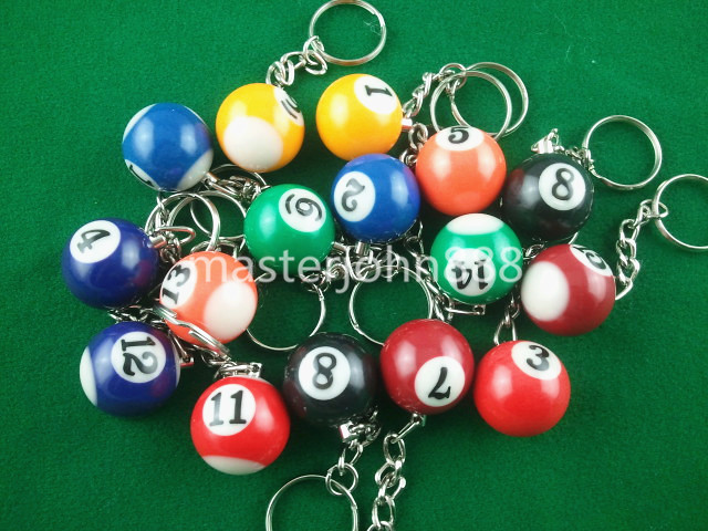 Lots of 16pcs Pool Billiard Snooker Ball Keychain ...