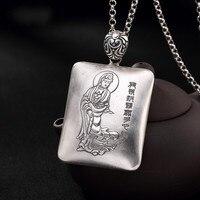 S999 fine silver avalokitesvara heart sutra silver Thai silver antique lady sweater pendant