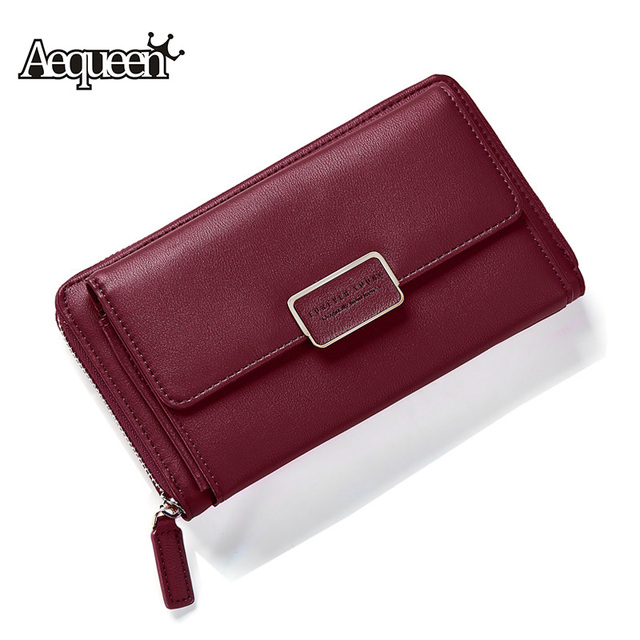 de23d40fc536 AEQUEEN Korean Style Womens Wallet Pu Leather Long Purse Cute Printing  Wallets Chain Lady Clutches Coin Purses Card Holders