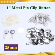"""100 наборов """" 25 мм Металлические Скрепки материалы для блях для профессиональных всех стальных производитель значков"""