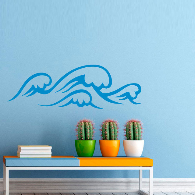 sea ocean waves wall decal stickers marine waterproof vinyl art wall