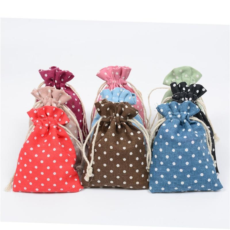 8 Pcs Bags Printed Dot Cotton Bundles Pocket Hand Linen Bags Bundle Pocket Jewelry Bracelet Gift Bags