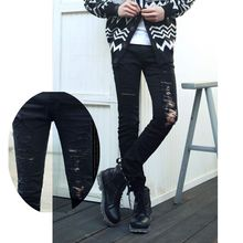 Newest Men's Runway Fashion Hollow Chains Ripped Skinny Black Denim Jeans Pant, 2015 Slim Fit Designer Jeans Trousers MB288