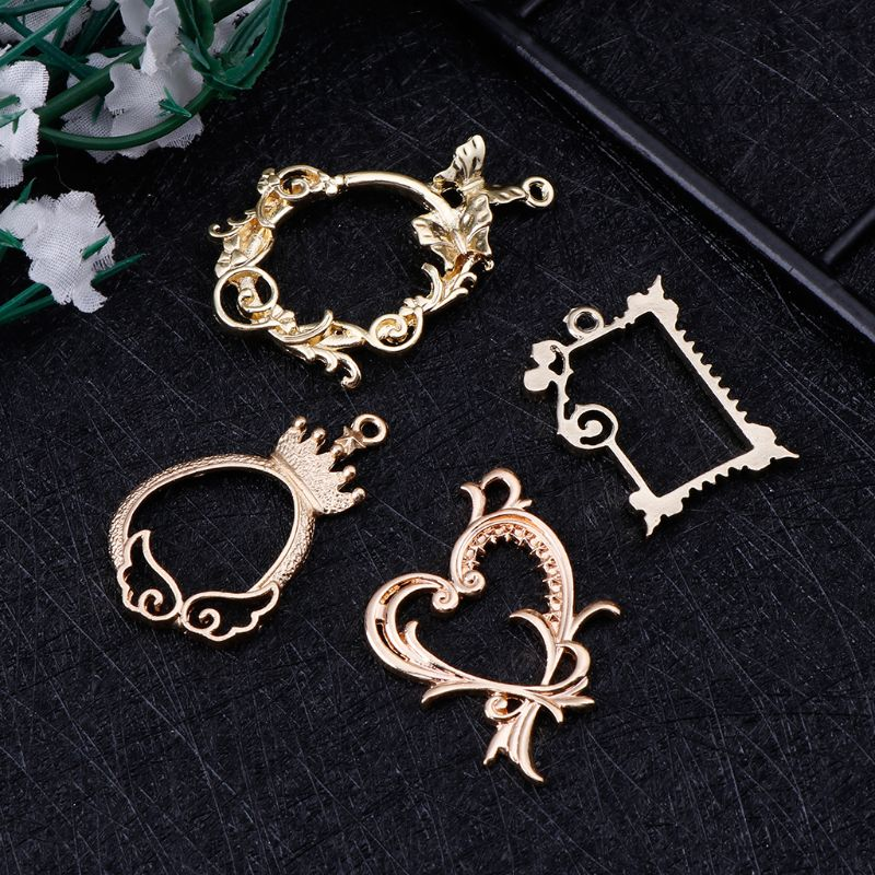 4 Pcs Metal Frame Antique Exquisite Floral Epoxy Resin Crafts UV Resin Tools DIY Jewelry Making Pendant Decoration Watch Frames