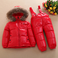 Russian Winter Warm Baby Boys Girls snowsuit Children Duck Down coats jacket with fur hood Thick kids ski snow suit clothes set