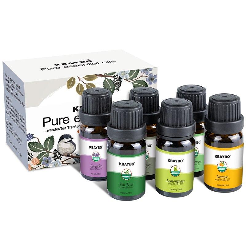 Ätherisches Öl für Diffusor, Aromatherapie Öl Luftbefeuchter 6 Arten Duft von Lavendel, Tee Baum, Rosmarin, zitronengras, Orange