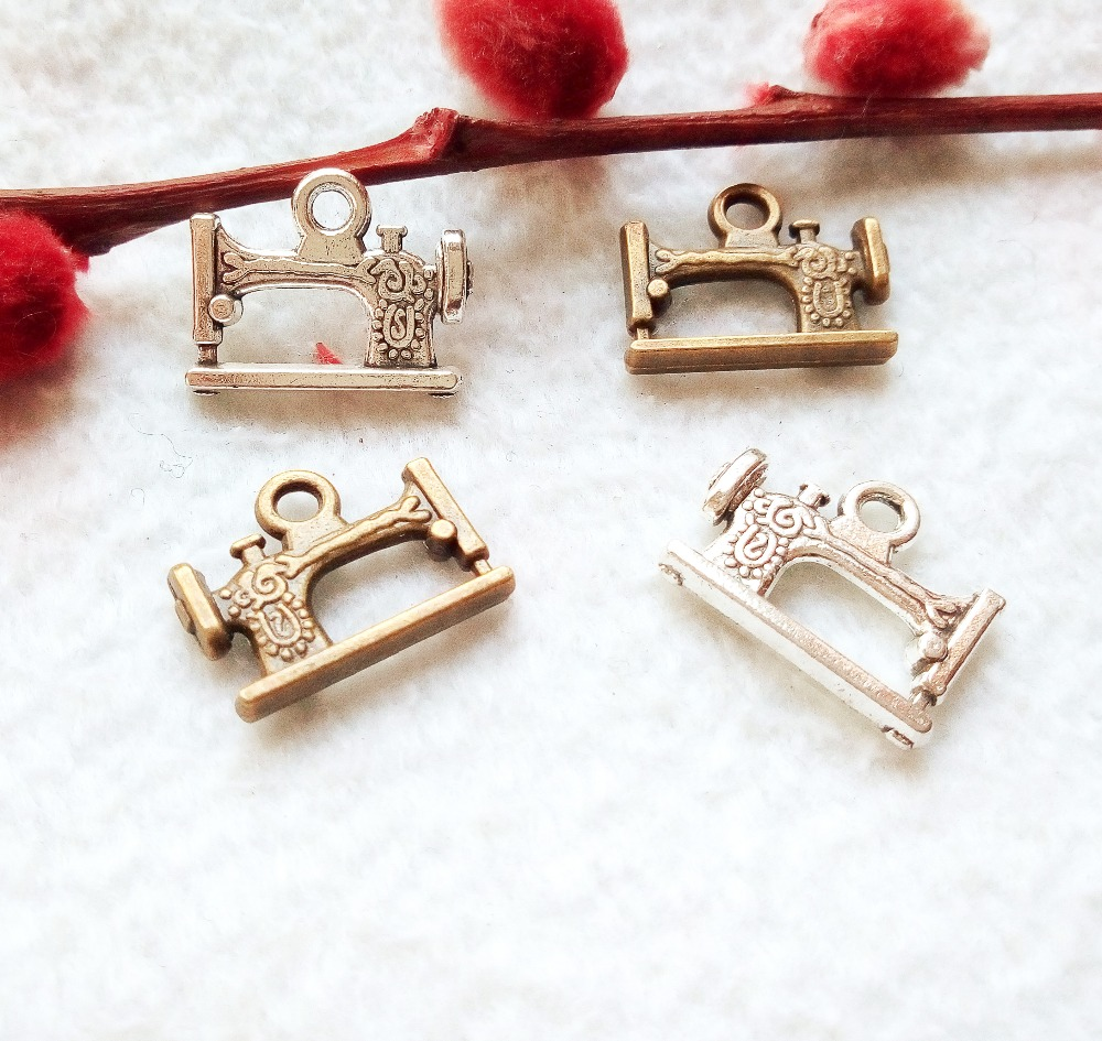 Free shipping 6pcs 20*15mm antique silver or bronze sewing machine charm pendant fit bracelet necklace diy metal jewelry