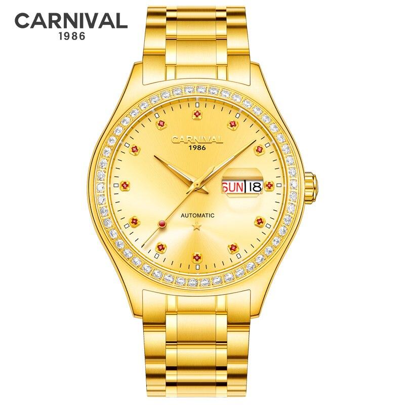 CARNIVAL Golden Steel Men Automatic Mechanical Watch Luxury Top Brand Watch Synthetic Sapphire Crystal Case Men Watch Waterproof