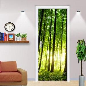 Зеленый лес дерево 3D фотообои для гостиной ремонт Сделай Сам самоклеющиеся двери Наклейка ПВХ виниловые двери обои рулон