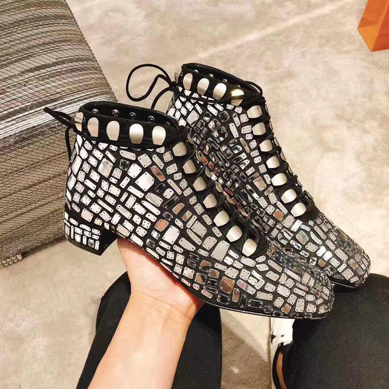 New Arrival Woman Boots Front Lace Up Ankle Boots Square Toe Metal Decor  Bling Shoes Woman 44d97ae6ae24