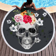Women Large Bath Towel for Beach Thick Round 3d Sugar Skull Printed Beach Towel Fabric Quick Compressed Towel Tapestry Yoga Mat(China)