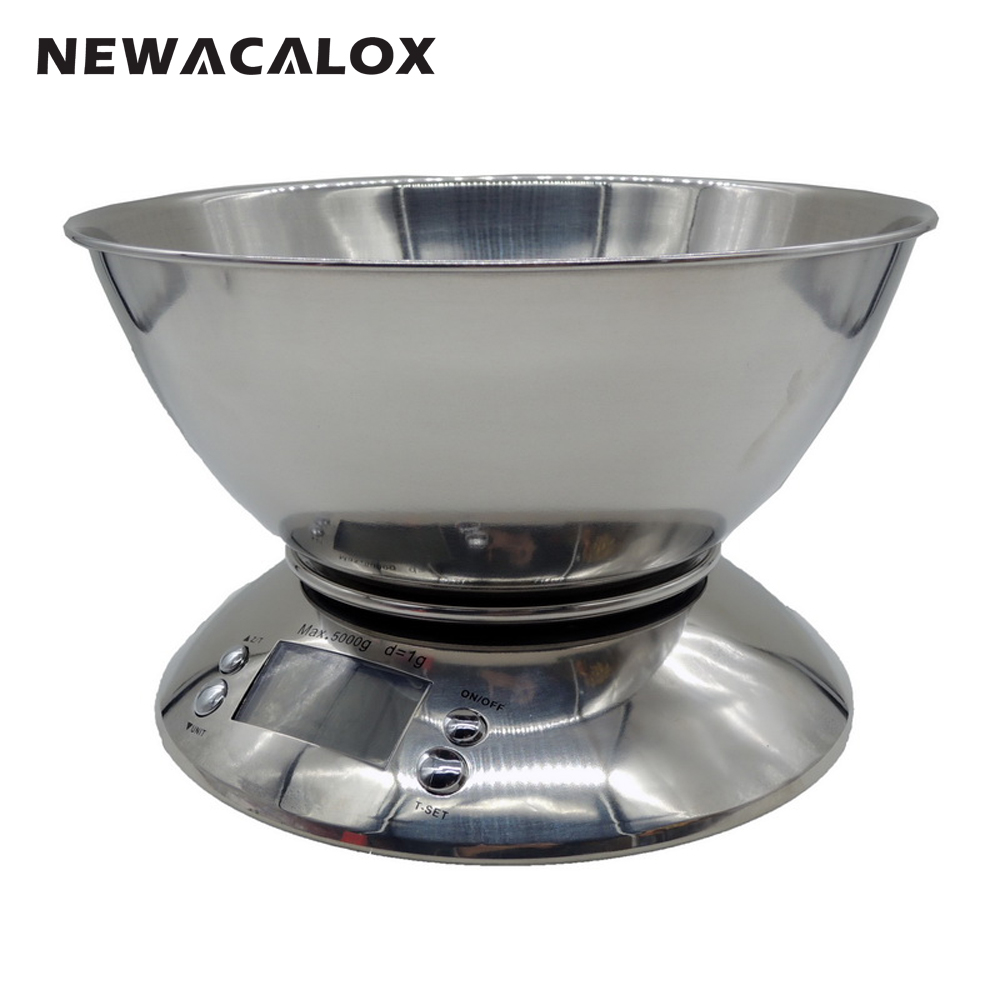 NEWACALOX Cooking Tool Stainless Steel Electronic Weight Scale Food Balance Cuisine Precision Kitchen Scales with Bowl 5kg 1g