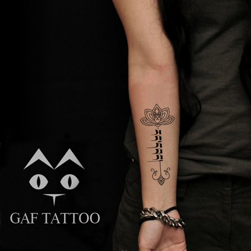 Temporary Tattoos Sticker for Men Women Arm Leg Black Sexy Fake Tribal Sanskrit Lotus Word Design Waterproof Body Art Makeup