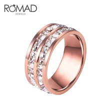 все цены на ROMAD Double Row Zircon Ring Rose Gold Color Promise Wedding Engagement Rings For Women Female Jewelry Female Size 5-10 R4 онлайн