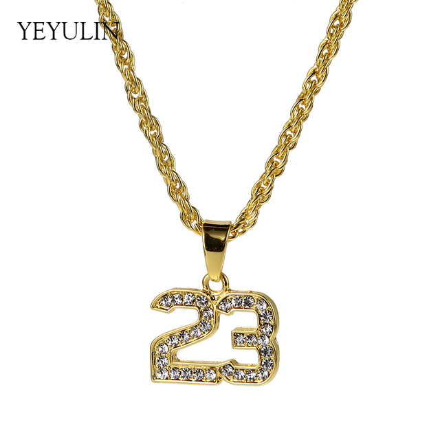 New Full Crystal Hip Hop Basketball Legend Number 23 Necklaces & Pandents Bling Gold Cuban Chain Necklace Jewelry For Male