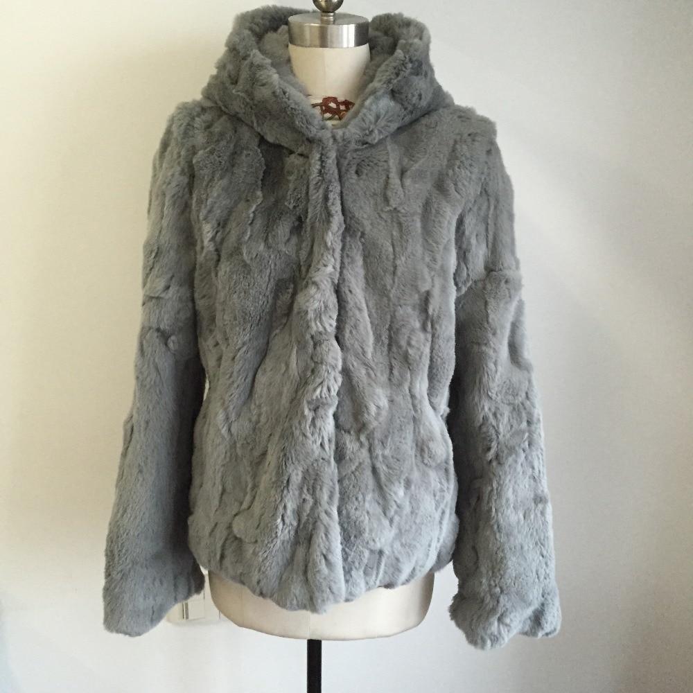 2019 New Fashion 100% True Genuine Natural Rex Rabbit Fur Coat Women Real Fur Waistcoat With Hood WSR137