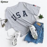 ROMWE T Shirts Women 2017 Summer Tee Shirt Casual Top Female Grey Letter Print Short Sleeve