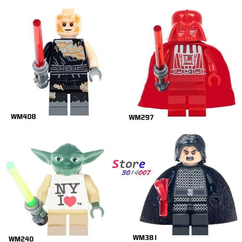 Tek Yoda New York Red Darth Vader Yoda Anakin Skywalker yapı taşları modelleri tuğla oyuncaklar çocuklar için