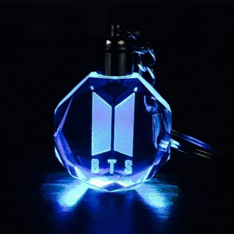 KPOP BTS New LOGO DOOR Keychain Model Toy Bangtan Boys LED Crystal Light Pendant Mocel Collection