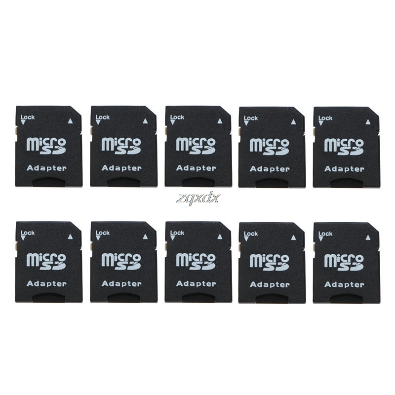 10Pcs Micro SD TransFlash TF To SD SDHC Memory Card Adapter Converter Black Whosale&Dropship