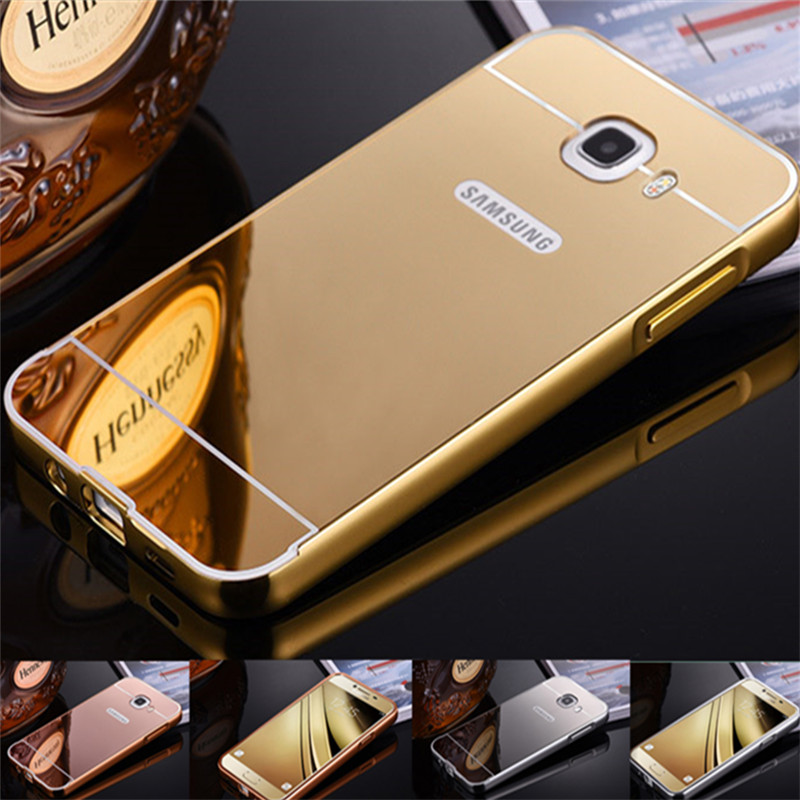 For Samsung J7 prime Case Plating Mirror Aluminum Metal Frame +Hard PC Back Cover Phone  ...