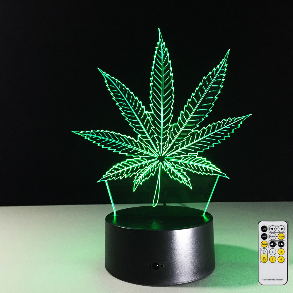Remote Maple Leaf 3D Visual Illusion Lamp Transparent Acrylic Night Light LED Lamp 7 Color Changing Touch Table Lamp Lava Lamp