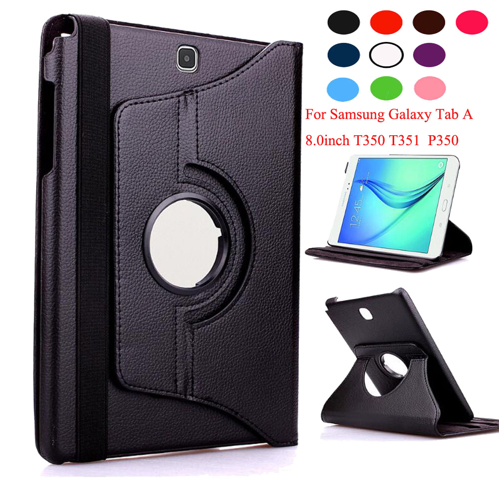 купить For Samsung Galaxy Tab A 8.0 T350 T351 T355 Case 360 Rotatable PU Leather Case Cover For Samsung P350 P355 8 inch Tablet +Pen по цене 390.99 рублей