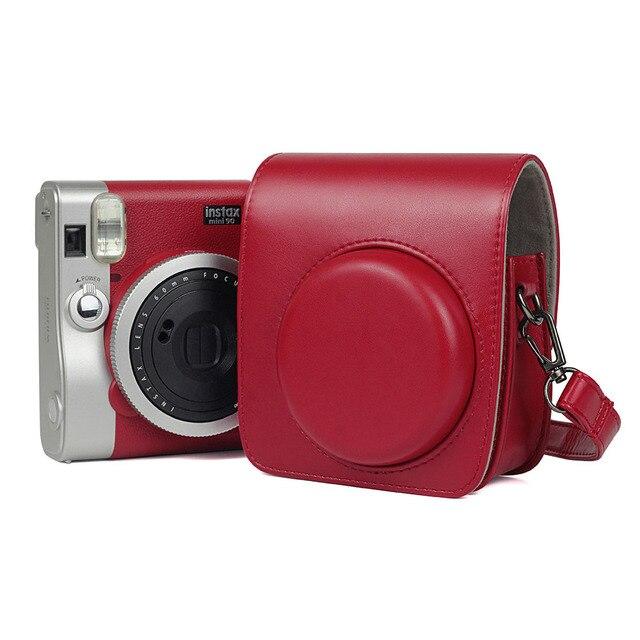 Bộ máy Chụp ảnh Lấy Ngay Fujifilm Instax Mini 90 Neo Classic Ốp Lưng Da PU Dây Đeo Vai Túi Pha Lê PVC Bảo Vệ Mang Theo Bao Da